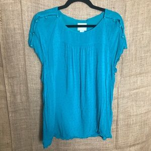 Anthropologie Maeve Blue Top 12 Solid Polka Dot